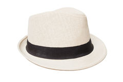 Biały Panama kapelusz odizolowywający na bielu Fotografia Royalty Free