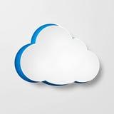 Biały papier chmurnieje nad gradientowym błękitnym tłem Zdjęcia Royalty Free