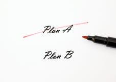 Biały papier, krzyżujący out Planuje A, planu b fotografia stock