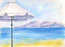 Biały parasol przy plażą Obraz Stock
