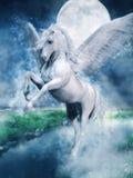 Biały Pegasus nad jeziorem ilustracji