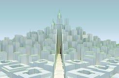 Biały pejzaż miejski z drapaczami chmur Obrazy Royalty Free