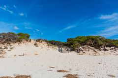 Biały piasek w Maria Pia plaży zdjęcie stock
