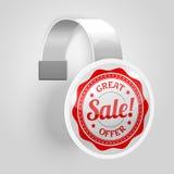 Biały plastikowy wobbler z czerwoną sprzedaży etykietką wektor Zdjęcia Stock