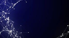 Biały Plexus na zmroku networking grafika v2 - loopingu tło HD - błękit - ilustracji
