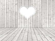 Biały podławy pokój z sercem Zdjęcie Stock