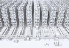 Biały podcieniowanie nowożytne Automatyzować logistyki Ześrodkowywa ` s wnętrze zdjęcia royalty free