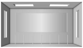 Biały pokój z dwa okno i łuk w centrum Nastrojowa niedrożność Fotografia Royalty Free