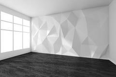 Biały pokój z miętoszącą ściany, nadokiennej i czarnej parkietową podłoga, Obraz Stock