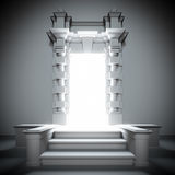 Biały portal przyszłość z jaskrawym światłem. Obrazy Stock