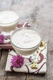 Biały powiewny mousse, jabłczany Sambuk w wsad formie Fotografia Royalty Free