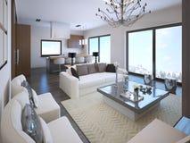 Biały pracownianego mieszkania wnętrze ilustracja wektor