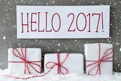 Biały prezent Z płatkami śniegu, tekst 2017 Cześć Fotografia Royalty Free