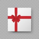 Biały prezenta pudełko z Błyszczącym Czerwonym Atłasowym łękiem i Tasiemkowym Odgórnego widoku zakończeniem up odizolowywającymi  ilustracja wektor