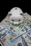Biały prosiątko bank odizolowywający w górę stosu Stany Zjednoczone waluta dalej przeciw czarnemu tłu Bogactwo i savings pojęcie obrazy stock