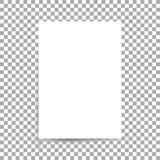 Biały prześcieradło papieru format A4 z cieniami ilustracja wektor