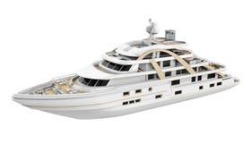 Biały przyjemność jacht Odizolowywający royalty ilustracja