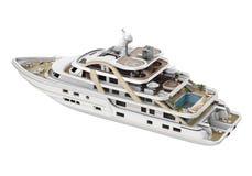 Biały przyjemność jacht Odizolowywający ilustracja wektor