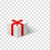 Biały pudełko z łękiem wiązał z faborkiem odizolowywającym na przejrzystym tle Teraźniejszość i niespodzianka również zwrócić cor Fotografia Royalty Free