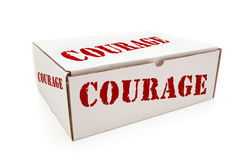 Biały pudełko z odwaga na stronach Odizolowywać fotografia royalty free