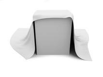 Biały pudełko zakrywający z białym płótnem ilustracja wektor