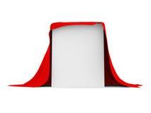 Biały pudełko zakrywający z czerwonym płótnem ilustracja wektor