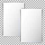 Biały pusty plakatowy mockup, prześcieradło papier na przejrzystym tle royalty ilustracja
