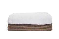 Biały ręcznik i brown ręcznik Fotografia Stock