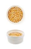 Biały ramekin wypełniający z kukurydzanymi nasionami obraz royalty free