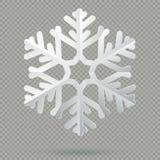 Biały realistyczny fałdowy papierowy Bożenarodzeniowy płatek śniegu z cieniem odizolowywającym na przejrzystym tle 10 eps royalty ilustracja
