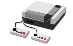 Biały retro, modniś, antyk, stara, antykwarska, gemowa konsola z dwa joystickami na białym tle, ilustracja wektor
