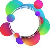 Biały round tło z colour okręgami ilustracja wektor