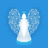 Biały rozjarzony anioł i halo Fotografia Stock
