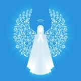 Biały rozjarzony anioł i halo Obrazy Stock