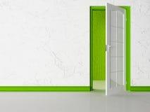 Biały rozpieczętowany drzwi w pokoju ilustracja wektor