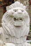 Biały rzeźbiony lew Zdjęcia Royalty Free