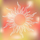 Biały słońce na Kolorowym tle Zdjęcia Royalty Free