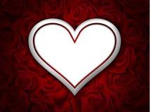 Biały serce na różanym tle Obrazy Stock