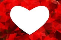 Biały serce odizolowywający na czerwonym tle obrazy royalty free