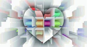 Biały serce z barwionymi komórkami w graficznej pęd przestrzeni ilustracji