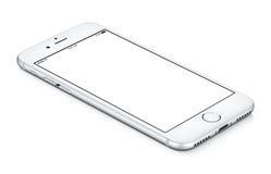 Biały smartphone mockup CCW wirujący kłama na powierzchni z bla Obraz Stock