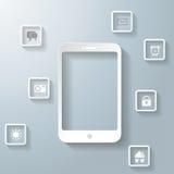 Biały Smartphone Z Apps Infographic PiAd ilustracja wektor