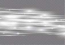 Biały specjalny skutek Świecący lampasy na przejrzystym tle Piękna łuny łuna, iskra i cząsteczka ruchu skutek ilustracji