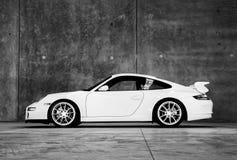 Biały sporta samochód indoors Obrazy Royalty Free