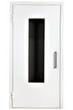 Biały stalowy drzwi z szkłem, odizolowywającym nad białym tłem fotografia royalty free