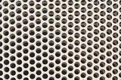 Biały stalowy metal z okrąg dziurkować dziurami Obrazy Stock
