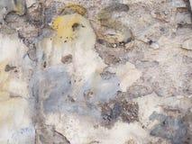 Biały stary grunge malująca ściana z uszkadzającym tynk tekstury tłem Obrazy Royalty Free
