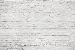Biały stary starzenia się ściana z cegieł dla tła, tekstura Obraz Royalty Free