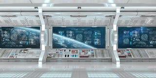 Biały statku kosmicznego wnętrze z pulpitów operatora cyfrowymi ekranami 3D r ilustracji