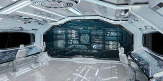 Biały statku kosmicznego wnętrze z pulpitów operatora cyfrowymi ekranami 3D r ilustracja wektor